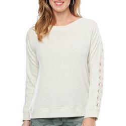 Womens Solid Lace Long Sleeve Top