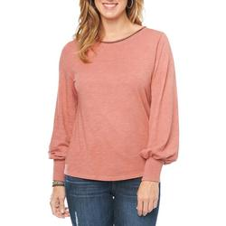 Womens Heathered Long Sleeve Blouson Top