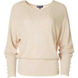 Democracy Womens Solid Waffle Knit Blouson Sweater
