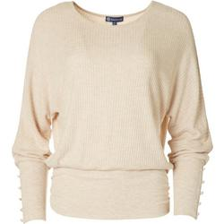 Womens Solid Waffle Knit Blouson Sweater