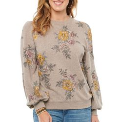 Democracy Womens Floral Print Blouson Sweater
