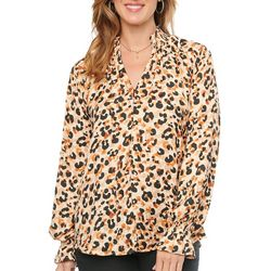 Democracy Womens Animal Print Cuffed Long Sleeve Blouson Top
