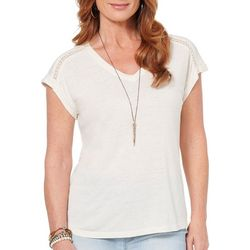 Democracy Womens Solid Eyelet Strip Short Sleeve Top