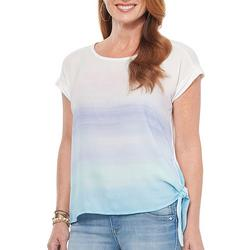 Womens Ombre Side Tie Short Sleeve Shirt