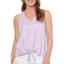 Womens Shimmer Sleeveless Tie Front Tank