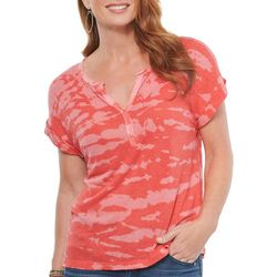 Democracy Womens Tie Dye Print Roll Sleeve Top