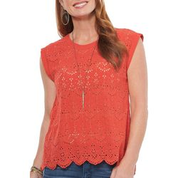 Democracy Womens Solid Eyelet Round Neck Sleeveless Top