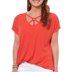 Democracy Womens Solid Ribbed Lattice V-Neck Top