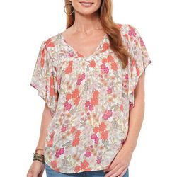 Democracy Womens Floral Flutter Short Sleeve Top