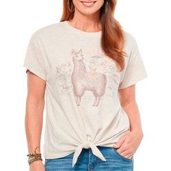 Democracy Womens Hot Llama Tie Front Top