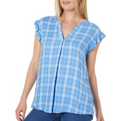 Democracy Womens Plaid Ruffle Trim Short Sleeve Top