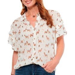 Democracy Womens Llama Print Button Down Top