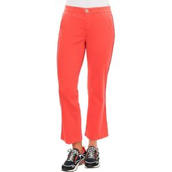 Democracy Womens Solid High Rise Flare Leg Cropped Pants