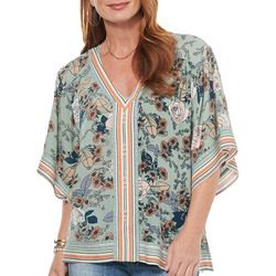 Democracy Womens Printed loose Fitting Short Sleeve