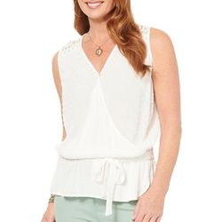 Democracy Womens Solid Crochet Detail Sleeveless Top