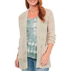 Womens Heathered Solid Long Sleeve Cardigan