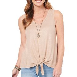 Womens Solid Tie Front V-Neck Sleeveless Top