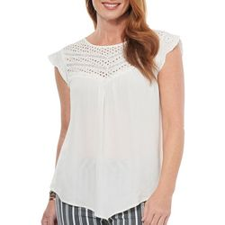 Democracy Womens Solid Eyelet Detail Short Sleeve Top