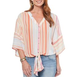 Democracy Womens Striped Tie Front Top