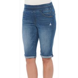 Democracy Womens Distressed Roll Cuff Bermuda Shorts