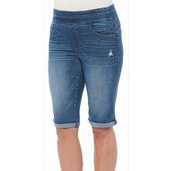 Democracy Womens Distressed Roll Cuff Bermuda Shorts