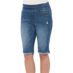 Womens Distressed Roll Cuff Bermuda Shorts