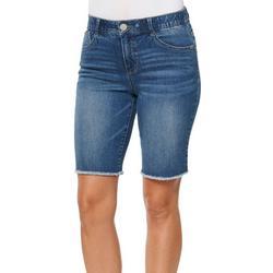 Womens Frayed Hem Bermuda Shorts