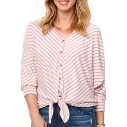 Democracy Womens Striped Button Down Tie Front Top