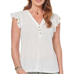 Democracy Womens Solid Ruffle Sleeve Button Blouse