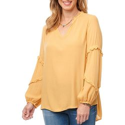 Womens Solid Ruffle Detail Long Sleeve Top