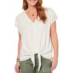 Democracy Womens Solid Tie Front V-Neck Short Sleeve Top