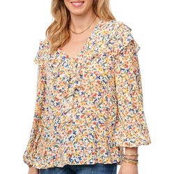 Democracy Womens Floral Print Ruffle Detail Top