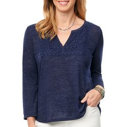 Democracy Womens Solid Crochet Detail Split Neckline Top