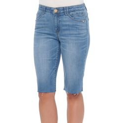 Democracy Womens Frayed Solid Bermuda Shorts