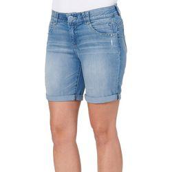 Democracy Womens Light Wash Roll Cuff Jean Bermuda Shorts