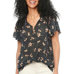 Womens Button Placket Flowy Top