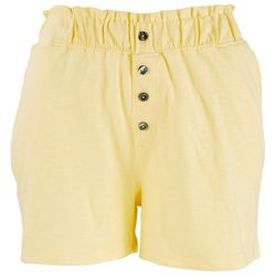Rag Supply Womans Solid Button Accents Shorts