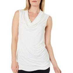 Hem & Thread Womens Solid Cowl Neckline Sleeveless Top