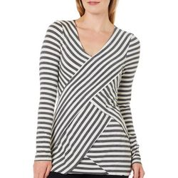 Hem & Thread Womens Asymmetrical Stripe Long Sleeve Top