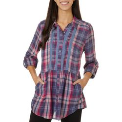 Vintage America Womens Plaid Button Down Top