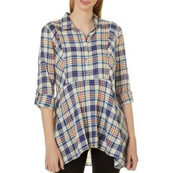 Vintage America Womens Plaid Tunic Top