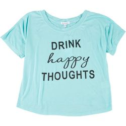 Dreamsicle Womens Drink Happy Thoughts Graphic Tee
