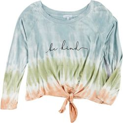 Dreamsicle Juniors Tie Dye Graphic Tie Front T-Shirt