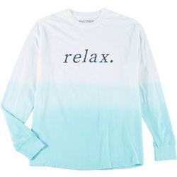 Juniors Long Sleeve Tie Dye Relax T-Shirt