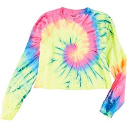 Juniors Bright Tie Dye Cropped T-Shirt