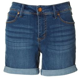Seven 7 Womens Denim Cuffed Hem Shorts