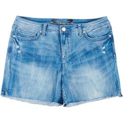 Seven 7 Womens Denim Raw Edge Hem Shorts