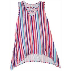 Seven 7 Womans Striped Sleevless Top With Open Line Front