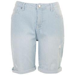 Seven 7 Womens Pin Striped Jean Shorts