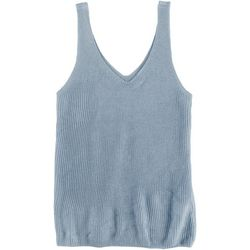 DOUBLE ZERO Womens Solid Knit Sleeveless Top